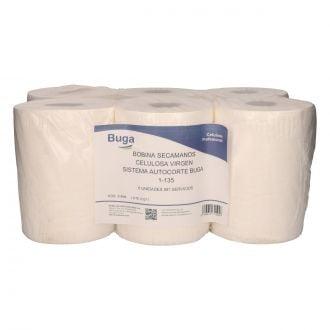 Bobina Secamanos Buga Autocorte Celulosa 1 Capa - 135m Blanca