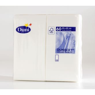 Servilleta 40x40 Duni 2 capas blanca plegado 1/8