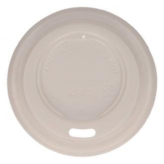 Tapa para Vaso con Orificio SP4 CPLA Blanco Compostable