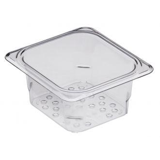 Recipiente colador GN 1/6 de policarbonato transparente 7,6cm prof