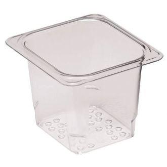 Recipiente colador GN 1/6 de policarbonato transparente 12,7cm prof